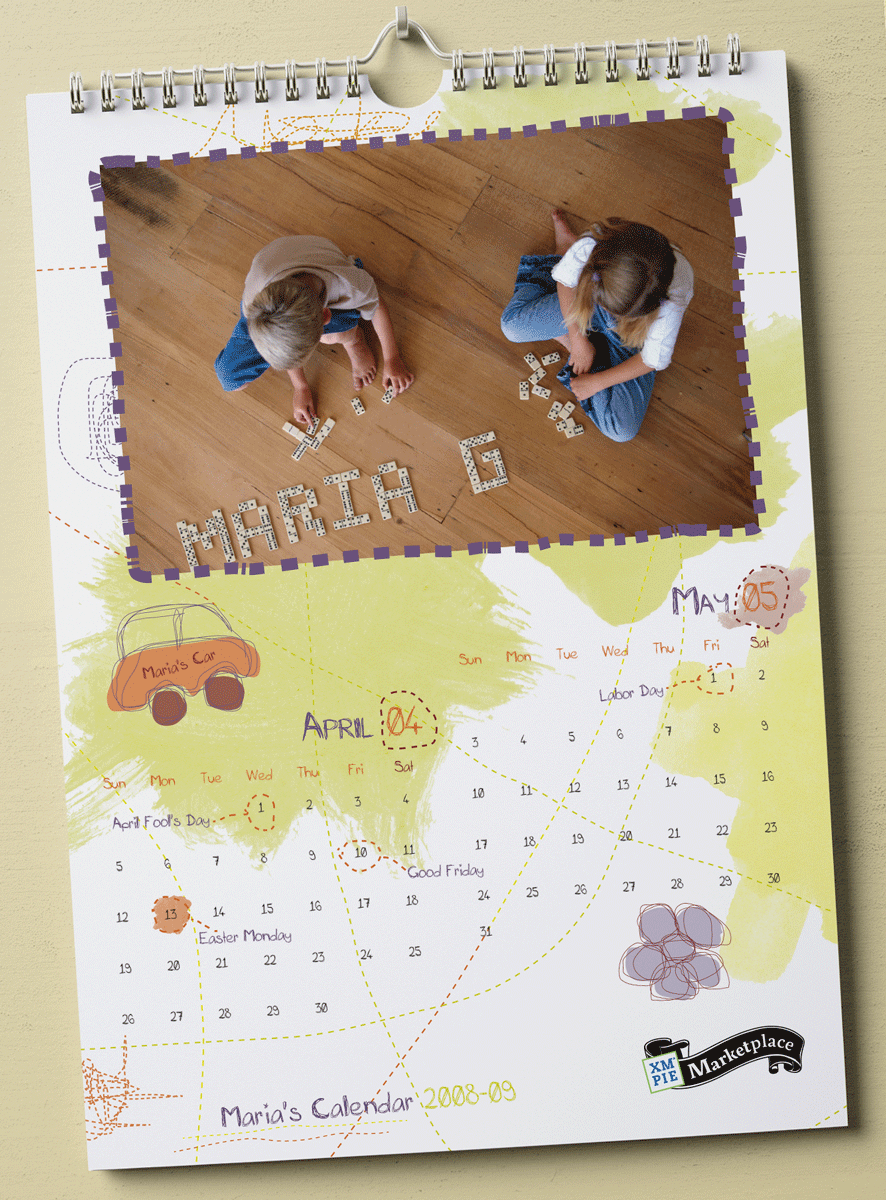 XMPie - איור ועיצוב לוח שנה לילדים